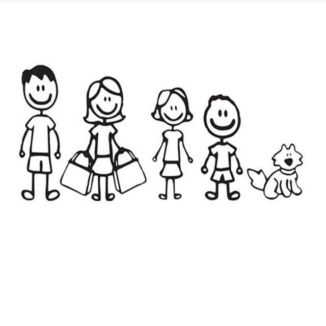 dad mom daugther son and pet dog funny car stickers family cartoon