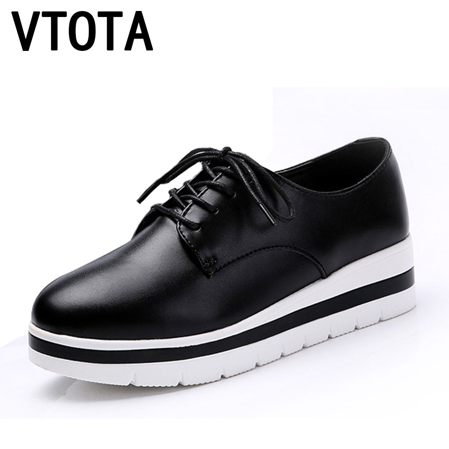 VTOTA Genuine Leather Shoes Oxfords Women Lace-Up Casual Wedge Height Increasing zapatos mujer Spring Platform Shoes Women F80 hot sale genuine leather shoes women soft comfortable lace up zapatos mujer high quality fashion oxfords pigskin women s shoes