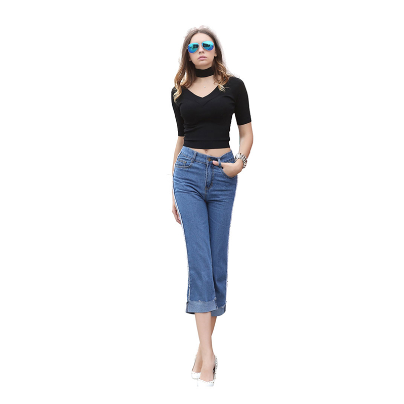 Europe Fashion New Blue Black Solid Color Cuffs Leisure Jeans for Women Straight Lady Street Denim Pants Female Washed Capri XL new fashion suspender jeans overalls trousers denim female straight dark blue washed women pants jumpersuit rompers