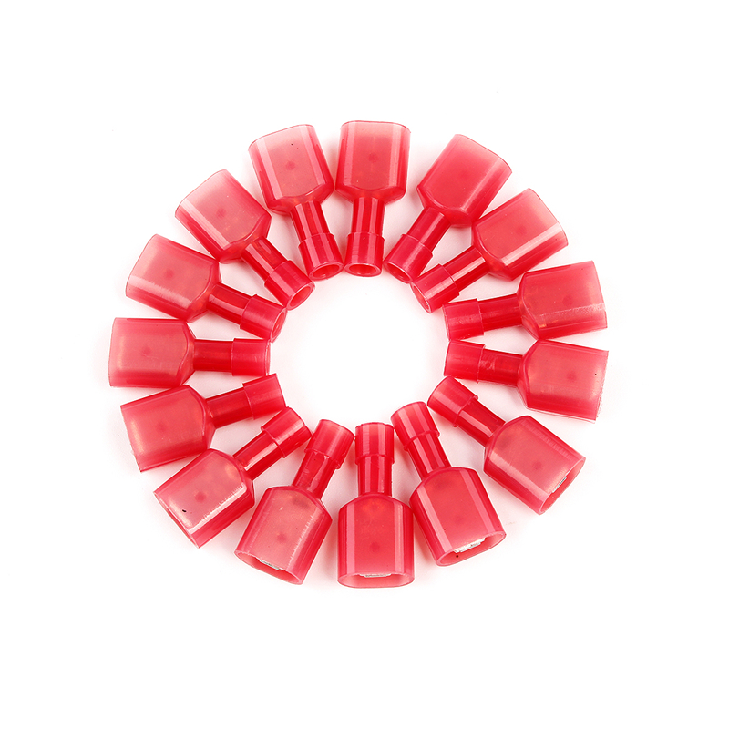 50pcs 22-18AWG Red Fully Insulated Wire Cable Connector Crimp Spade Terminals Car Audio 1meter red 1meter black color silicon wire 10awg 12awg 14awg 16 awg flexible silicone wire for rc lipo battery connect cable