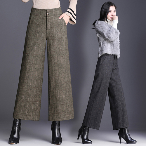 Wool   Wide     Leg     Pants   2018 Autumn And Winter High Waist Plaid Trousers Women Plus Size Woman   Pants   Ladies Breeches