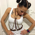 Fashion Handmade Metal Chain Choker Harness Body Bondage Cage Sculpting Leather Waist Belt