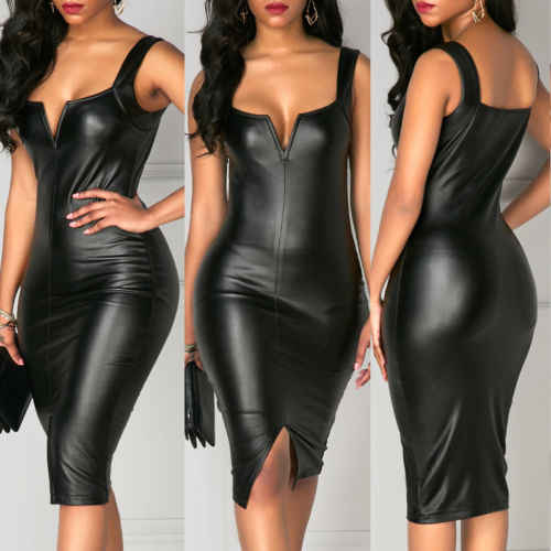 Mode Vrouwen PU Lederen Bandage Bodycon Mouwloze Club Party Korte Mini Jurk