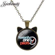 JOINBEAUTY Twenty One Pilots Music Band Photo Glass Cabochon Dome Charms Bronze Plated Cat Ear Necklace Jewelry For Fans H267(China)