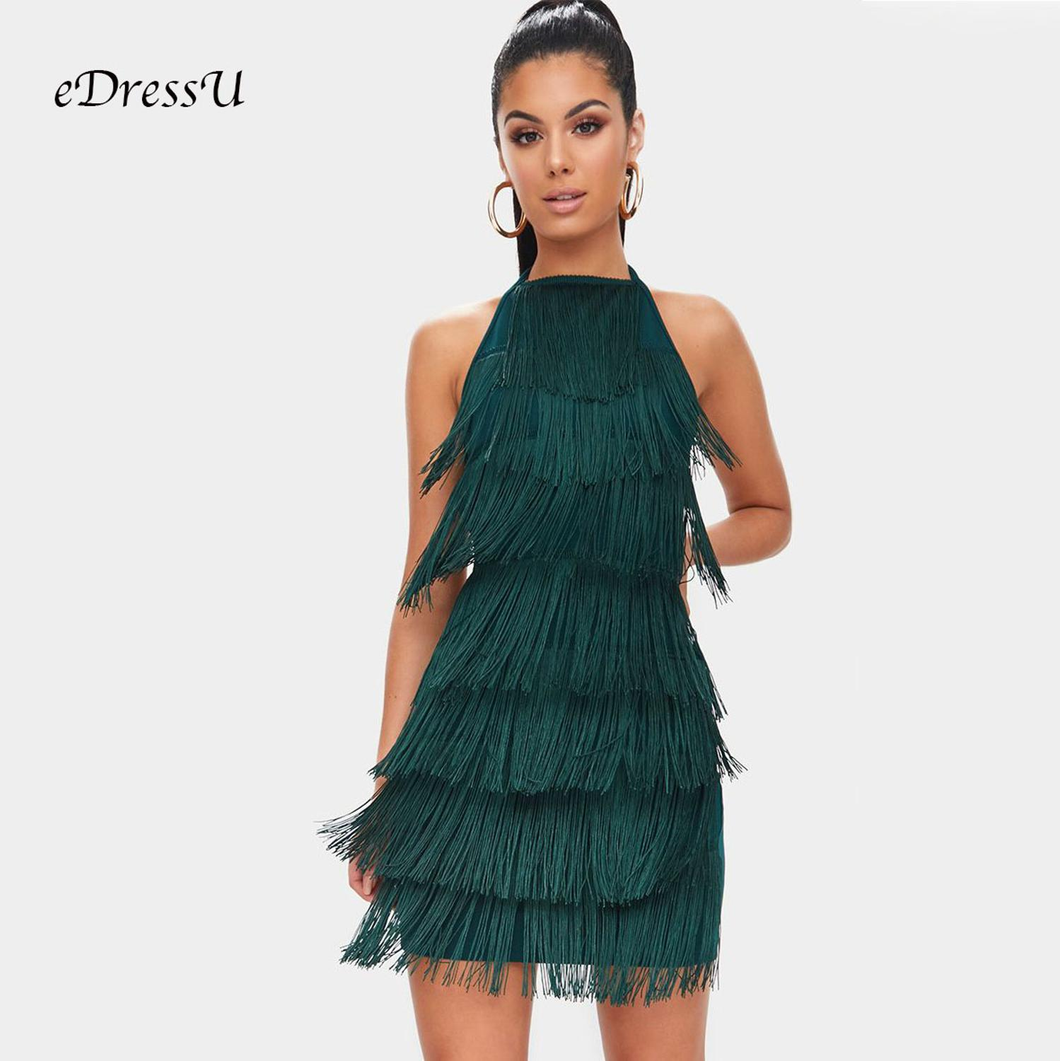 Women Tassel Dress Green Halter Tie Back Sexy Sweet Fringed Cocktail Party Dress Sheath Bodycon Bandage Club Date Wear MS A134 in Dresses from Women 39 s Clothing