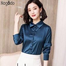 Nagodo office lady women shirts 2018 korean satin silk blouse shirt work wear long sleeve lapel slim ladies tops camisa feminina