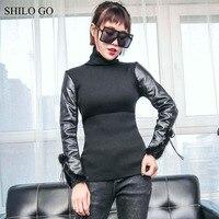 Шило Go кожаный блузка женская мода весна из натуральной овечьей кожи блузка воротником под горло норки манжеты Черный Тонкий Блузка