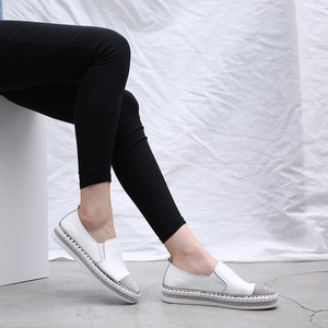 Image 3 - 2019 נשים של נעלי בד דירות נעלי עור אמיתי נעלי מוקסינים לנשים קריסטל אופנה תלמיד דייג הנעלה נעליים