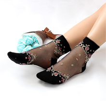 Women Short Socks Sheer Mesh Glass Silk Ladies  Transparent Crystal Lace Elastic Ankle Black