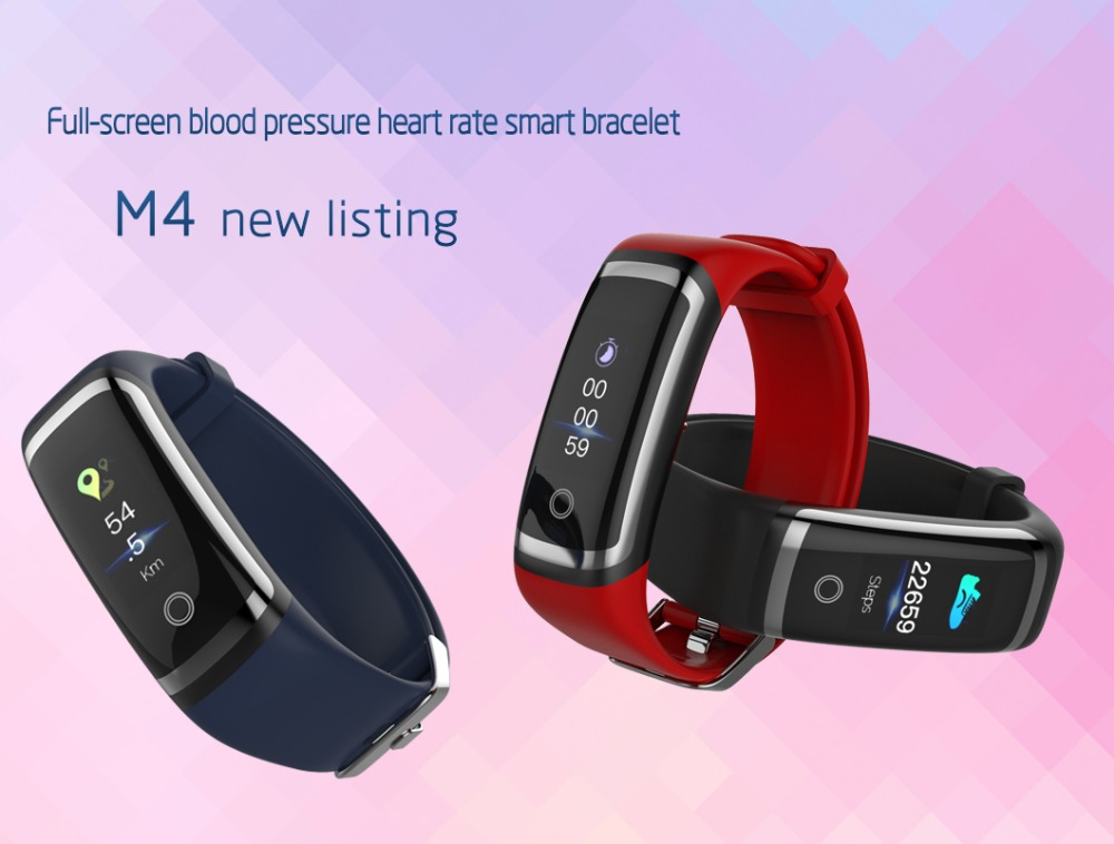 M4 Blood Pressure Waterproof Fitness Tracker Heart Rate Monitor Color Screen Smart Bracelet for IOS Android