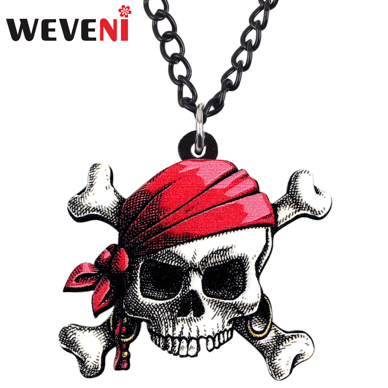 WEVENI Acrylic Halloween Skull Pirate Necklace Pendant Choker Trendy Punk Jewelry For Women Girls Teens Gift Charm Wholesale New image