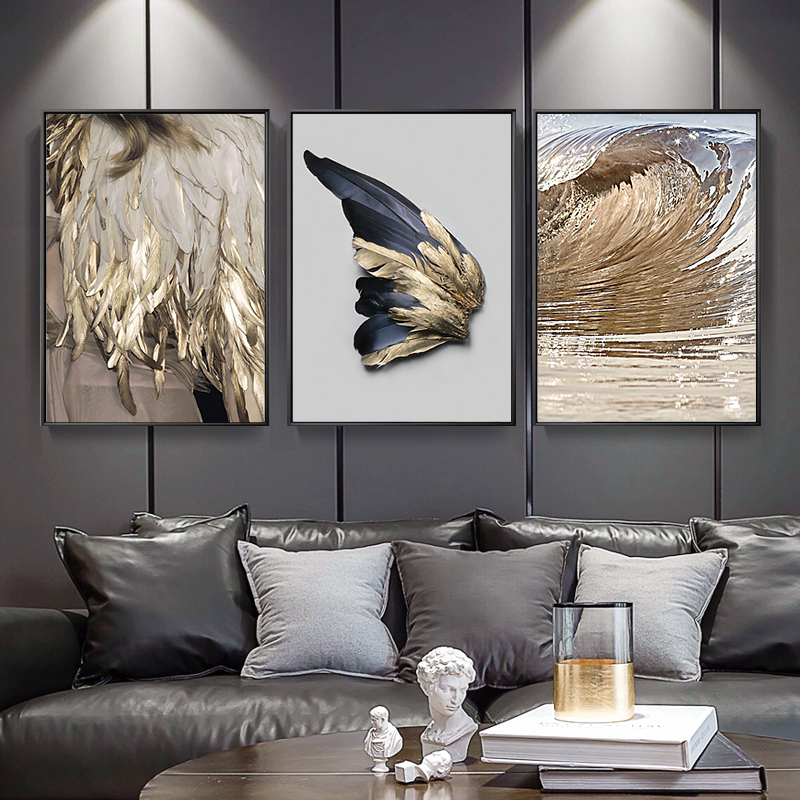 American Modern Living Room Decoration Gold Feather Abstract Poster Angel Wings Canvas Painting Wall Picture Sofa Background