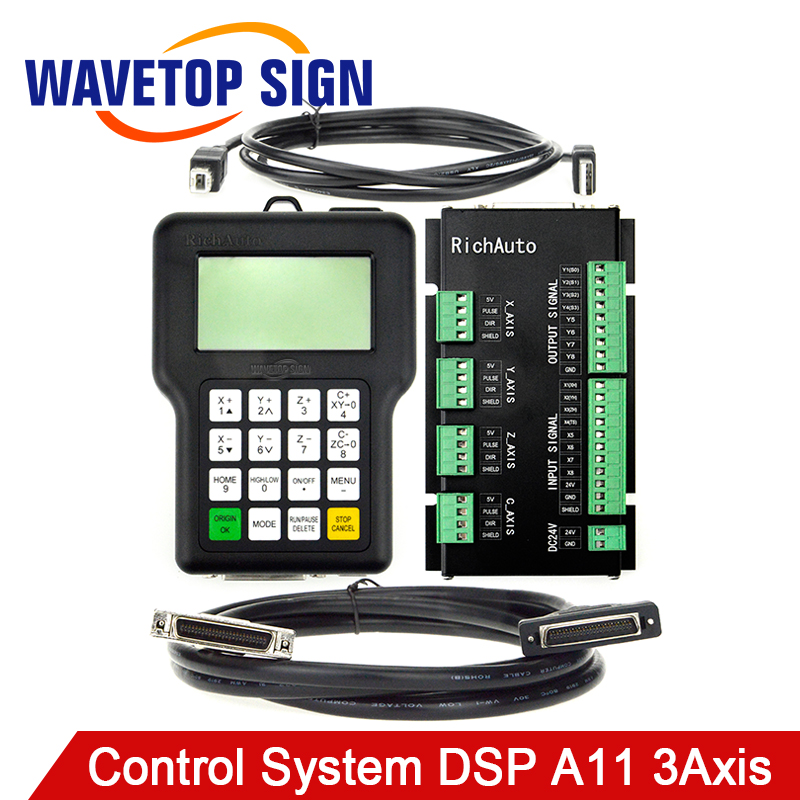 RichAuto DSP A11 CNC Controller A11S A11E 3-Axis Controller for CNC Router Better Than DSP 0501 Controller free shipping dsp 3 axis a11 handle motion controller cnc wireless channel for cnc router engraver dsp handle english version