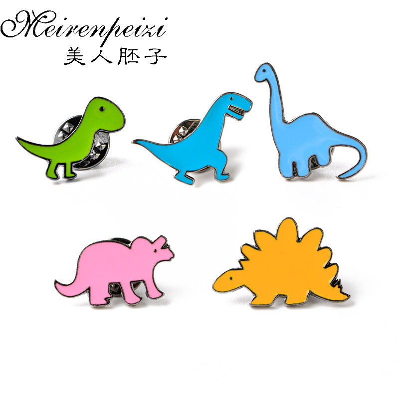 5PC / sæt Farverig Cartoon Brooch Pin Emalje Cute Little Dinosaur Dragon Brooches Pins Børne Fødselsdag Gave Krave Lapel Pin
