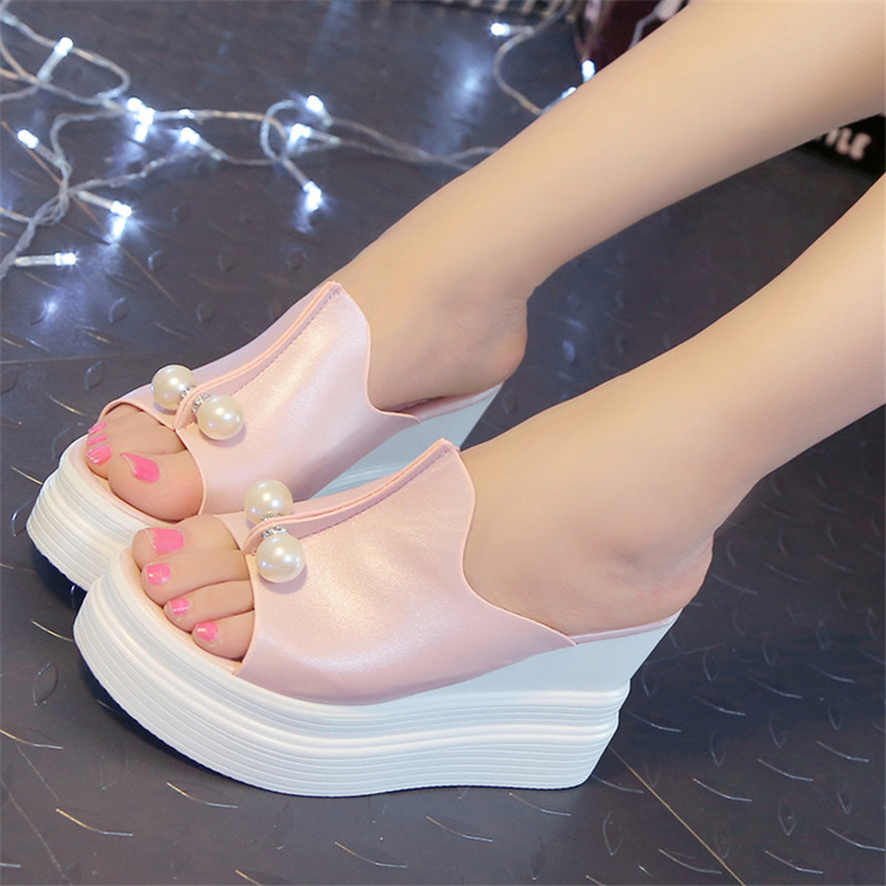 Designer Women Summer Sandals Thick Heel Platform Wedges Sandals Sexy Beading Slippers Sandalias Slides White Black High Shoes