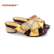 Sweet heart design in Woman Sandal Shoes Possible Matching with Bag Wedding Gold comfortable Italian Design Shoes Without bag