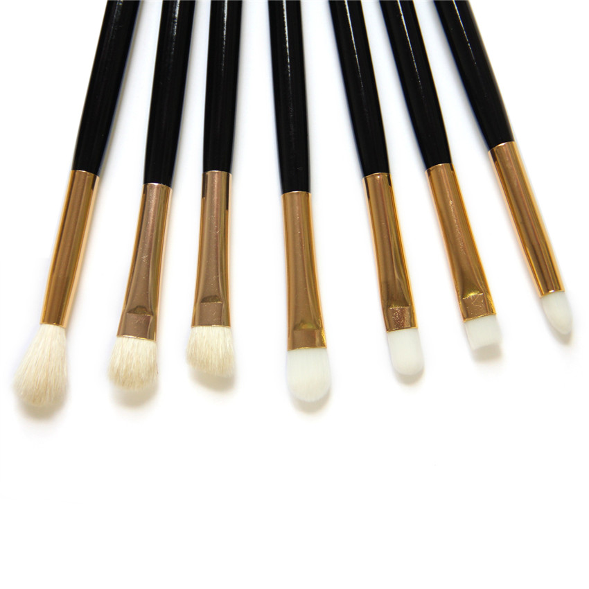 SAIANTTH 7pcs black gold eyes makeup brushes set eyeshadow contour concealer blending Smoky eye Lip brush kit maquiagem beauty