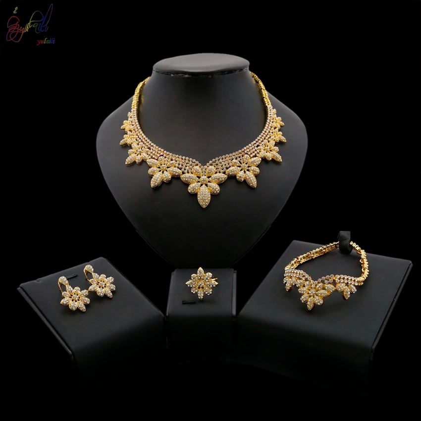 Us 19 0 Yulaili High Quality Italian Gold Color Plated Alloy Jewelry Sets Cz Crystal Rhinestone Pageantry Decorousness Jewelry Set In Jewelry Sets