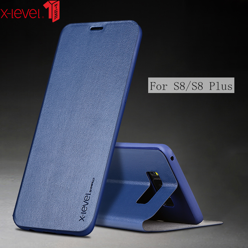 Case For Samsung Galaxy S8 Plus S8+ X-Level Soft TPU Silicone  Back holder Cover Leather Case For Samsung Galaxy S8