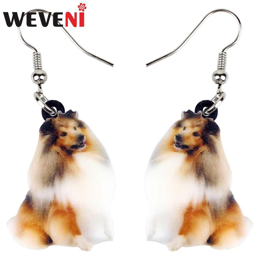WEVENI Accessory Acrylic Smile Collie Rough Coated Sheltie Dog Drop Dangle Cute Trendy Animal Jewelry For Women Girls Dropship
