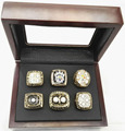 Wholesale Full Set (6pcs) For  1974 1975 1978 1979 2005 2008 Pittsburgh Steelers Super Bowl Championship Rings With Wooden Boxes