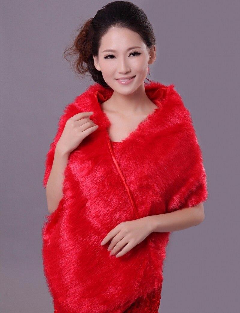 Bolero Rouge Mariage intérieur blanc/rouge fourrure cape de mariage veste de mariage bolero