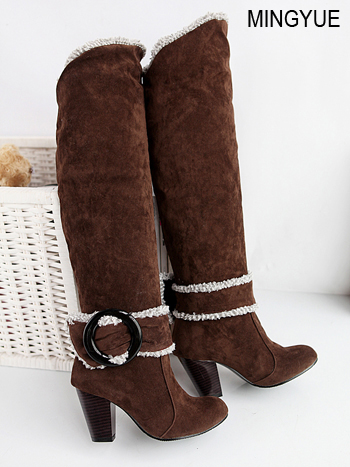 Big Size 34-43 Over the Knee Boots for Women Sexy High Heels Long boots Winter Shoes Round Toe Platform Knight Boots 258 2016 new big size 34 43 winter women lace botas sexy round toe high heel shoes solid pu white over the knee boots au 703 5