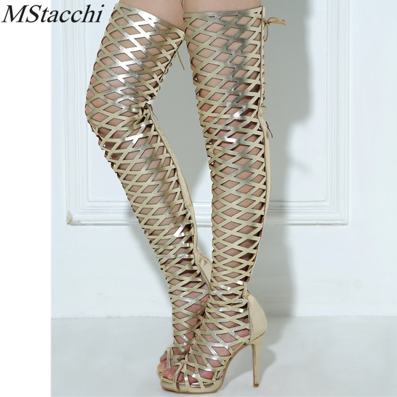 Mstacchi Women Long Boots Over the Knee Boots Hollow Lace Up Ladies Party Boots Sexy Plus Size Woman Peep toe Gladiator Sandals plus size light up cosplay party skirt