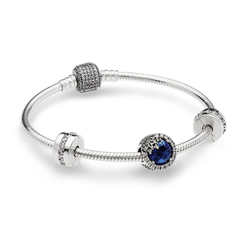 NEW 925 Sterling Silver Dazzling Snowflake Charm Fit Bracelets Twilight Blue Crystals & Clear CZ Women Gift DIY JewelryNEW 925 Sterling Silver Dazzling Snowflake Charm Fit Bracelets Twilight Blue Crystals & Clear CZ Women Gift DIY Jewelry