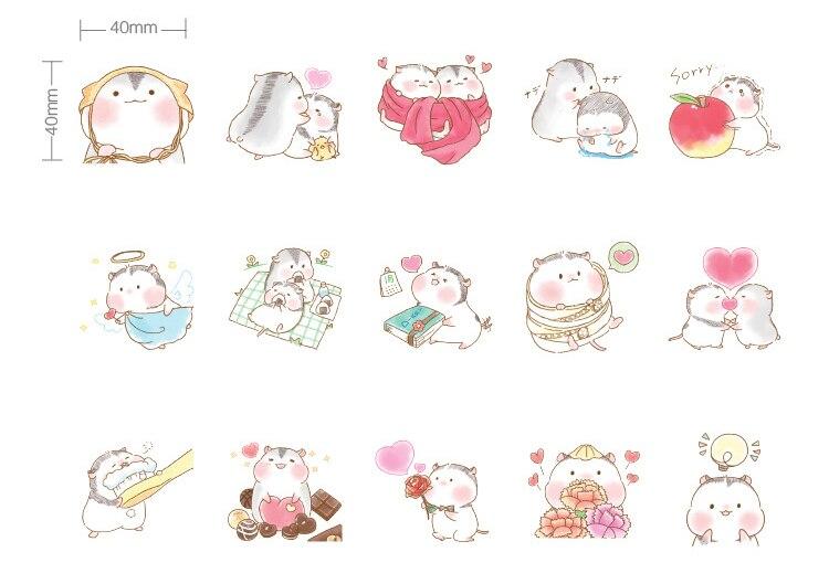 Купить с кэшбэком 45PCS/PACK Kawaii Cute Hamster Love Sticker Marker Planner Diary DIY Decorate School Stickers Scrapbooking Bullet Journal sl1721
