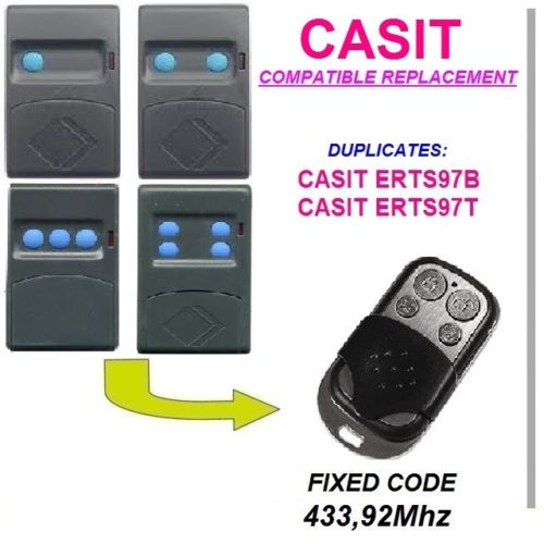 CASIT ERTS97B, CASIT ERTS97T Universal Remote Control/transmitter Garage Door  Replacement Clone Duplicator Fixed Code 433.92MHz