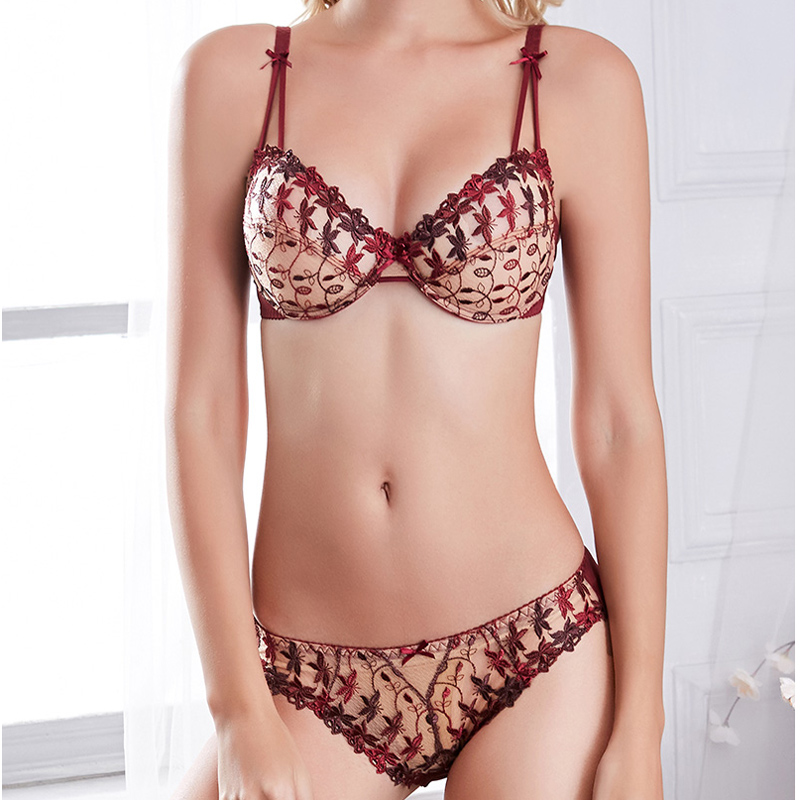 Sexy Transparent Lingerie Set Unlined Ultra thin bra and panty set with wires Butterfly embroidery Push up underwear women 95D Women Women's Clothings Women's Lingeries cb5feb1b7314637725a2e7: Brown|Burgundy Transparent