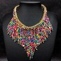 2016 moda jóias collier mujer new bohemian colares mulheres handmade handwoven longa tassel beads choker colares declaração