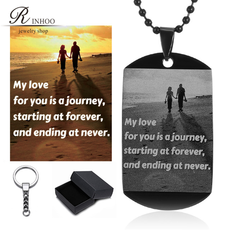 Custom Necklace Pictures Image Pendant Necklace Engrave Your Photo On Necklace Stainless Steel ID Tag Necklace