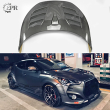 Carbon Vented Hood For Hyundai Veloster (Type C) Carbon Fiber Vented Hood Body Kits Tuning Trim Accessories For Veloster for hyundai veloster carbon fiber gear surround stick on type in stock