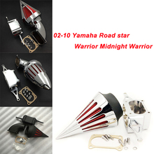 For 02-10  Yamaha Road star Warrior Midnight Warrior Motorcycle Air Cleaner Kit Intake Filter Black Chrome 2002 2003 2004 2005 black motorcycle spike air cleaner kits intake filter fit for honda shadow 600 vlx600 1999 2012 vlx 600 shadow600 2000 2001 2002
