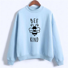 Save the Bees Sweatshirt Women Letter BEE KIND Hoodies Casual Print Pullover Ladies Fleece Moletom Sudaderas Mujer NSW-F7280