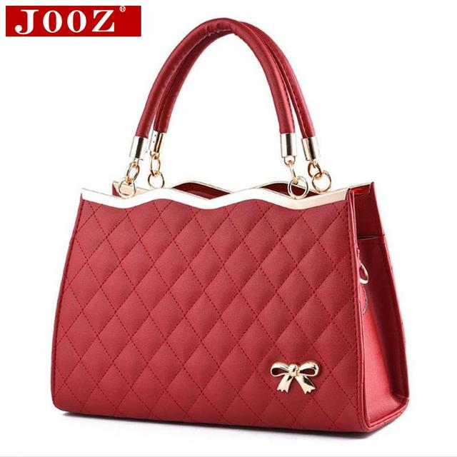 JOOZ High quality Bow women leather handbag Brand party evening Crossbody Bag soft leather lattice totes Shoulder bag women sac
