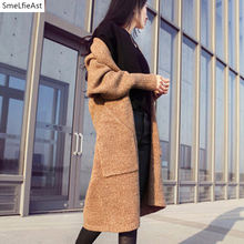 Здесь можно купить   2018 SLA Spring Autumn Loose Sweater Medium-long Thin Cardigan Female Sweater Cardigan Knitted Thick Solid V-neck Ladies Sweater Women