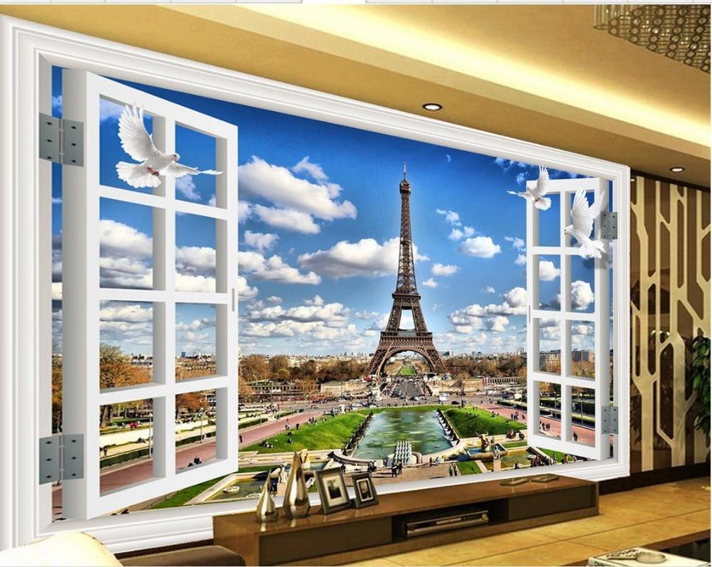 3d mural wallpaper window tower 3d room wallpaper for Wallpaper home renovation