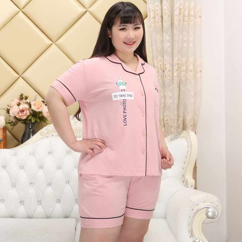 ... 130kg XXXXXL sexy pink short pajamas sets women 100% cotton summer home pijama  sleepwear women ... d33c0dcd2