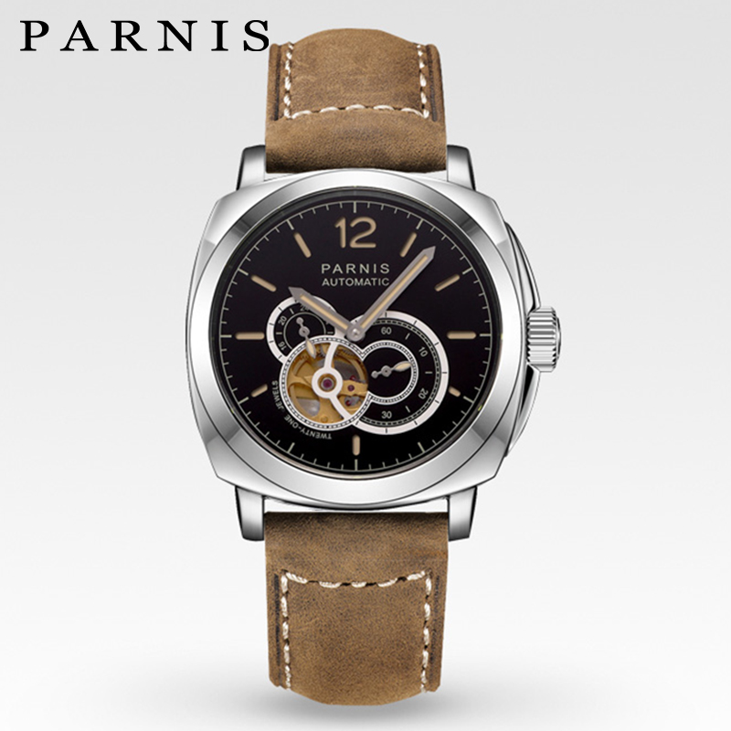 Parnis Skeleton Watches Mens Automatic Watch Mechanical 44mm Military Sport Frosted Belt Luminous 21 Jewels See Through Watch black see through detail fashion sport leggings