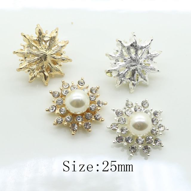 Fashion10Pc 25MM Round pearl rhinestone button Metal clothing button Wedding  inviations decorate hair flower center scrapbooking 0350f8218a73