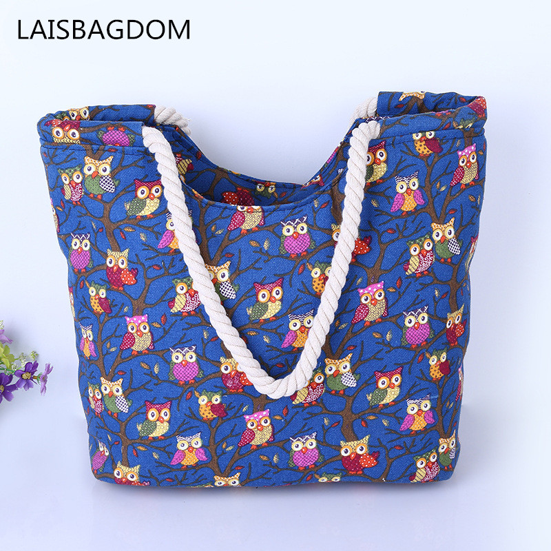 Cute Owl Large Canvas Shopping Tote Bag Big Shoulder Bags for Woman Bag Summer Beach Handbag Women Messenger Fashion