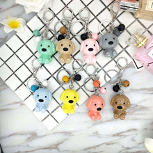 hot deal buy 8 colors resin dog cartoon key chain personality creative blue key chain car key ring cartoon korean couple bag pendant g-08040