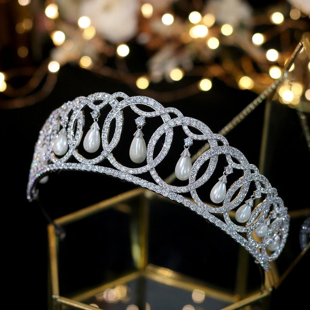 ASNORA Luxury European Court Silver Crown Wedding Accessories Elegant Pearl Zircon Hair Accessories A00342 ASNORA Luxury European Court Silver Crown Wedding Accessories Elegant Pearl Zircon Hair Accessories A00342