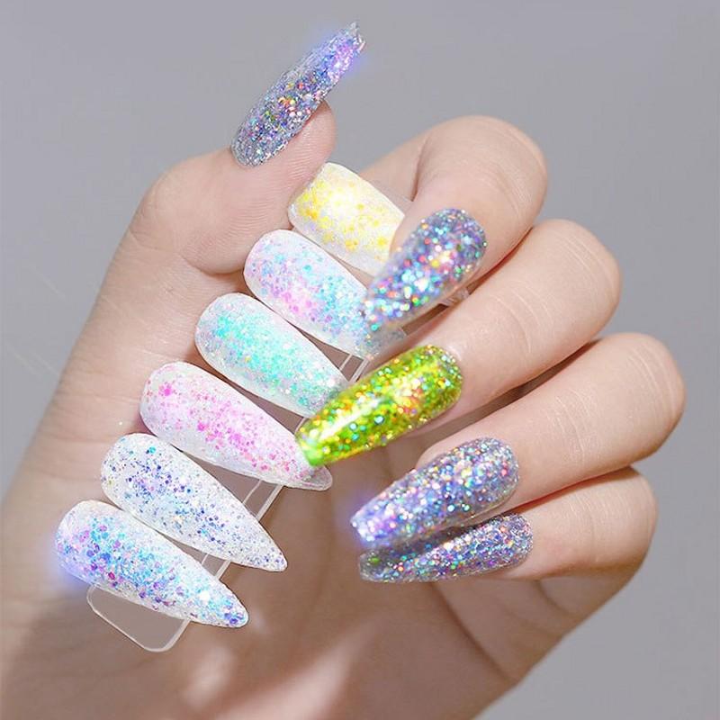 12 Pcs New Glitter Nail Art Powder Shiny Nail Decorations Holographic Tips 3D Diy Mixed Color Woman Makeup Glitter Sequins YSP40