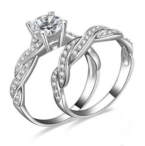 2PCS/SET Real Platinum Plated Infinity Love Simulated Diamond Engagement Wedding Ring Sets Zircon Women New Bridal Jewelry R337