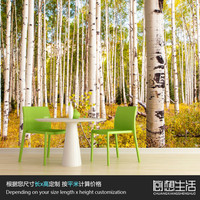 Autumn birch large murals sofa living room study bedroom TV background 3D wallpaper for wall 3d customization wallpaper forest