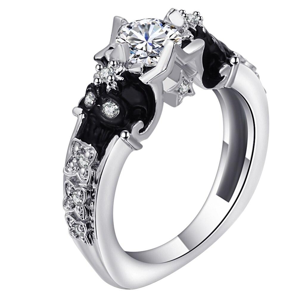 Platinum Diamond Classic Skull Engagement Ring - Pricole
